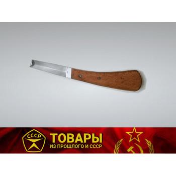 Нож копытный обоюдоострый с деревянной ручкой малый